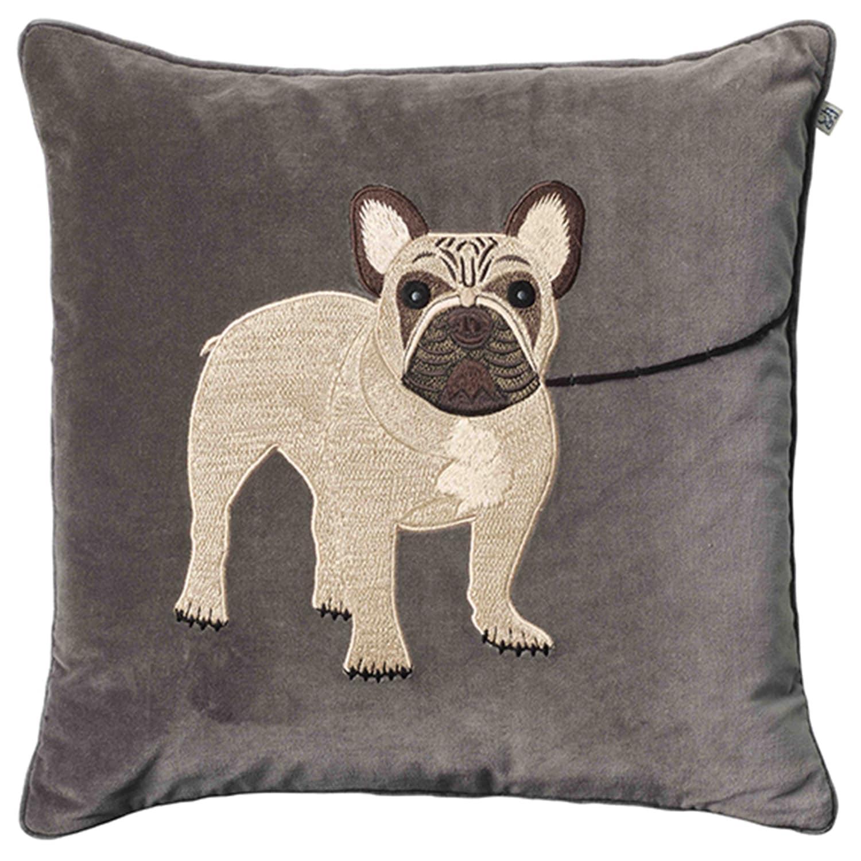 Embroidered French Bull Dog Cushion Cover 50x50 Cm Chhatwal Jonsson Royaldesign