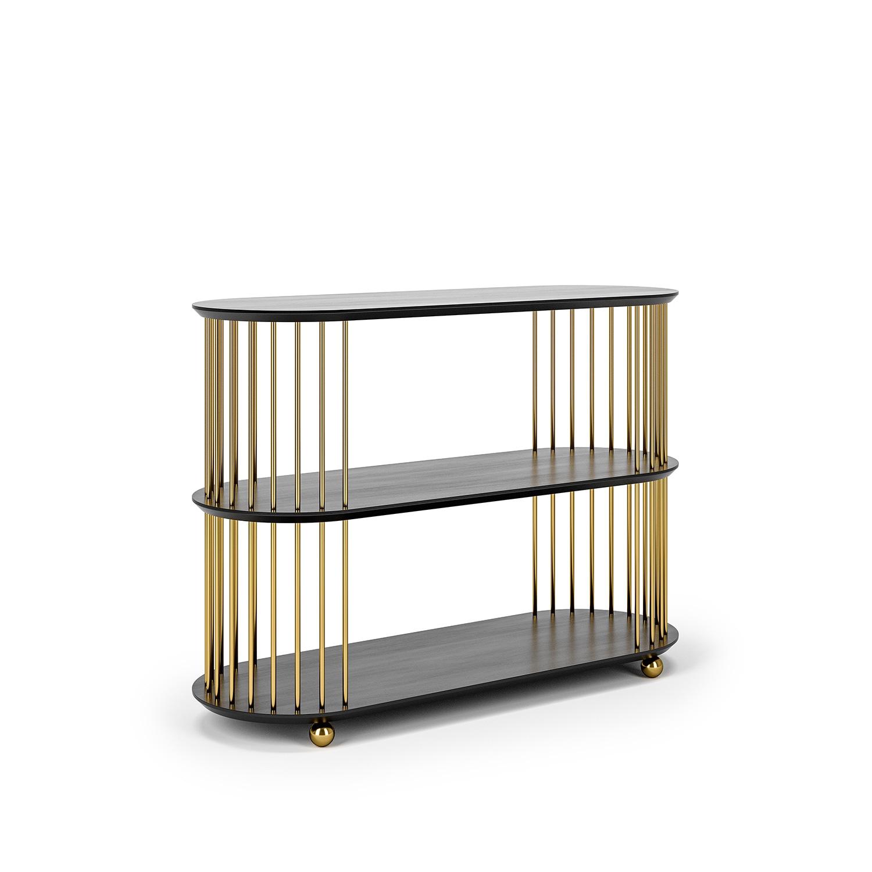 Cage 3 Regal, Schwarze EicheMessing Decotique @ RoyalDesign