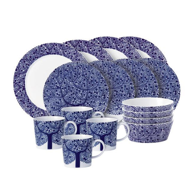 Fable Blue Tree Dinner Set, 16 pieces