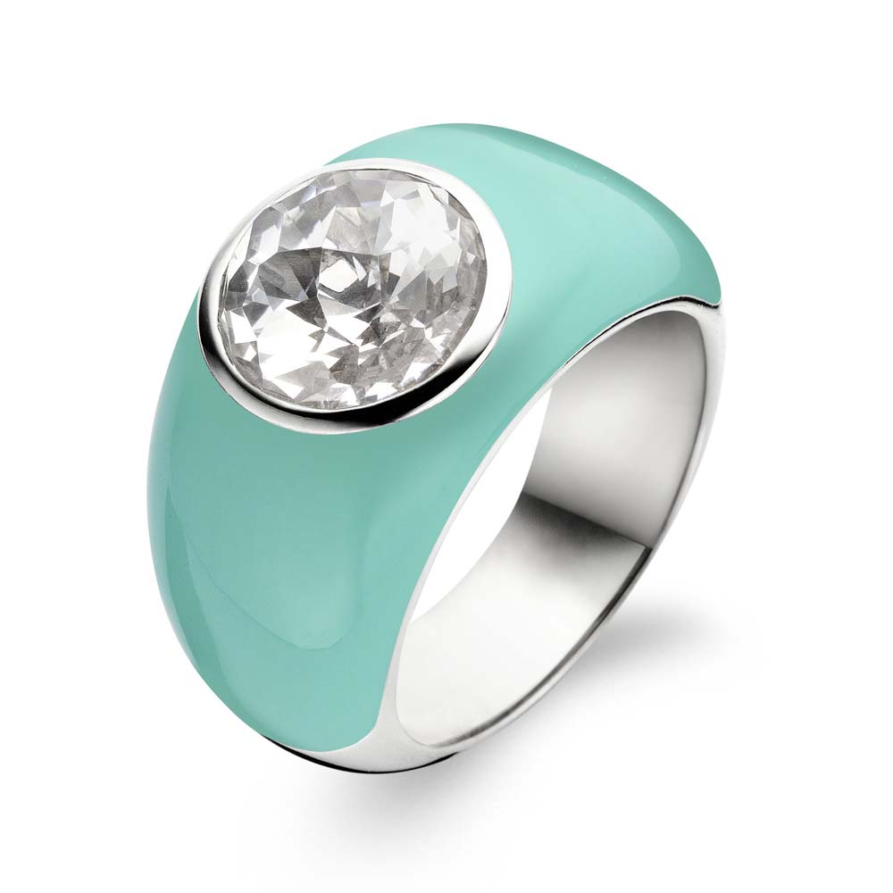 Ring Silver / Turquoise with white stone