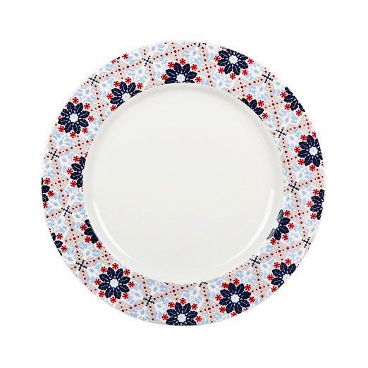 Bettie Dinner Plate, Blue/Red