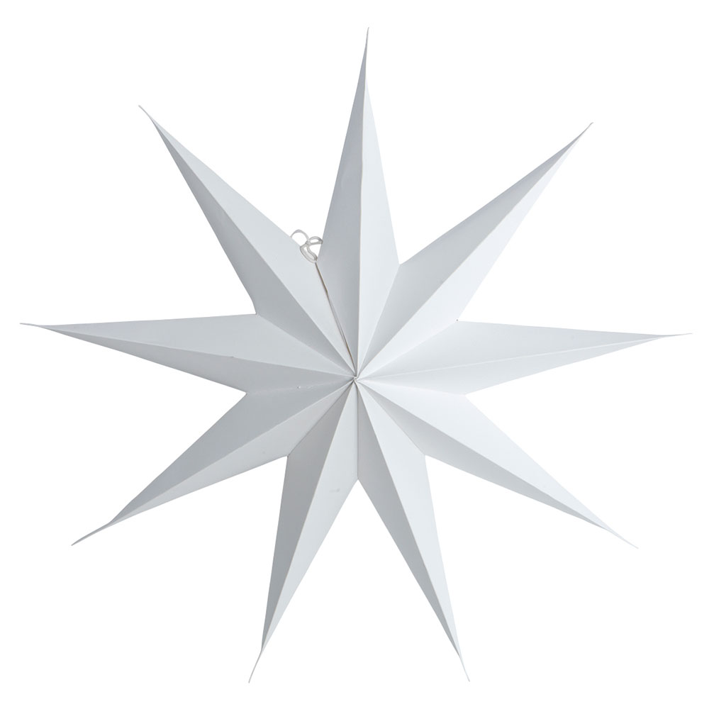 9 Point Christmas Star 45cm, White