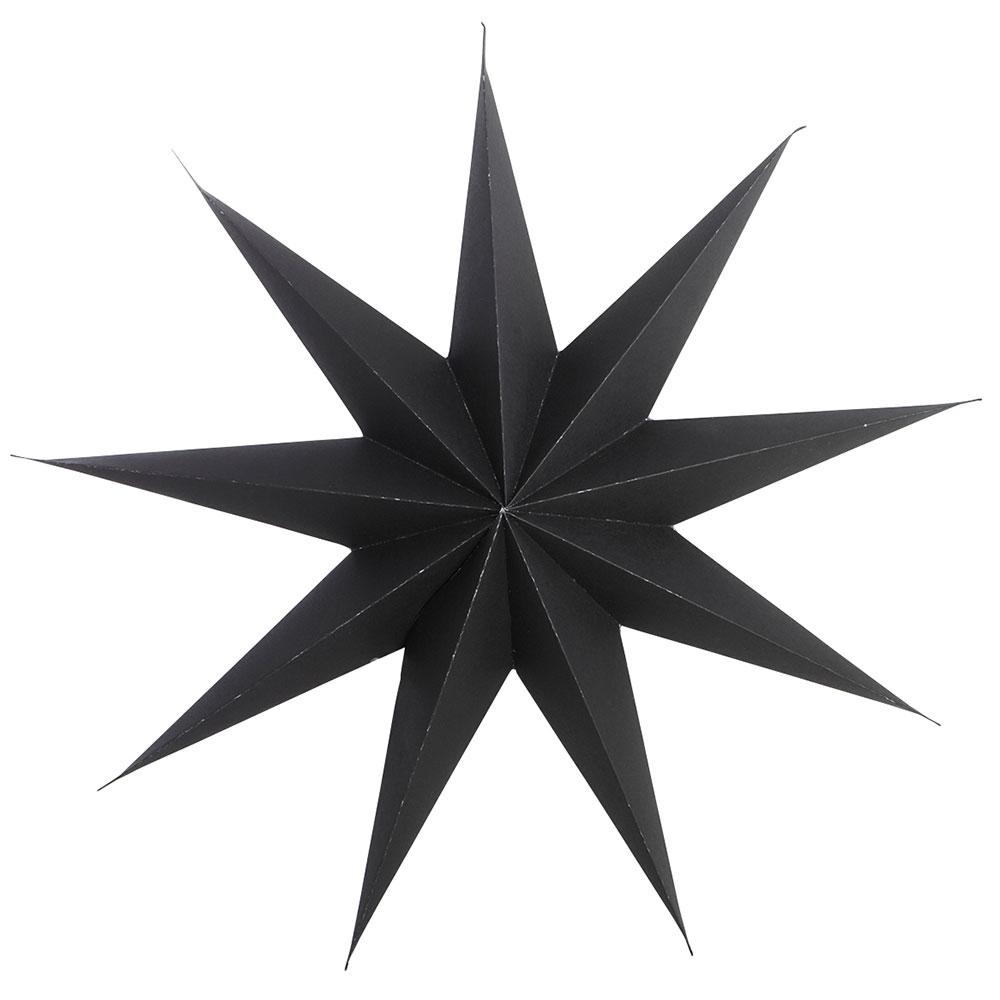 9 Point Christmas Star 45cm, Black