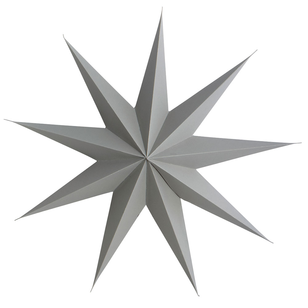 9 Point Christmas Star 45cm, Grey