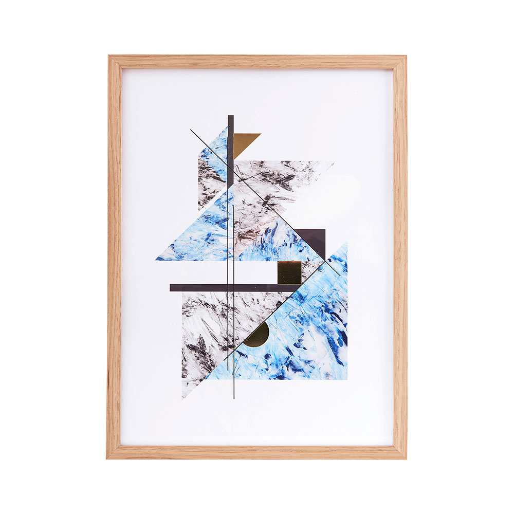 Abstract Marble with Frame, Grey/Blue