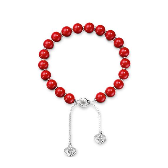 Boule Britt Bracelet en argent avec perles rouges