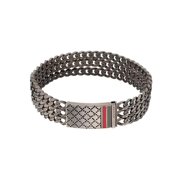 Купити Мужские браслеты Gucci Серебряный браслет с... Мужские браслеты Gucci Серебряный браслет с палладием и эмалью