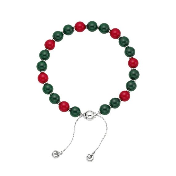 Boule Britt Bracelet with red & green wood beads