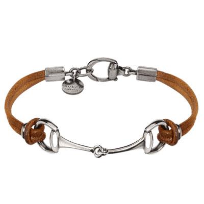 Horsebit Bracelet 19, Sterling Silver/brown