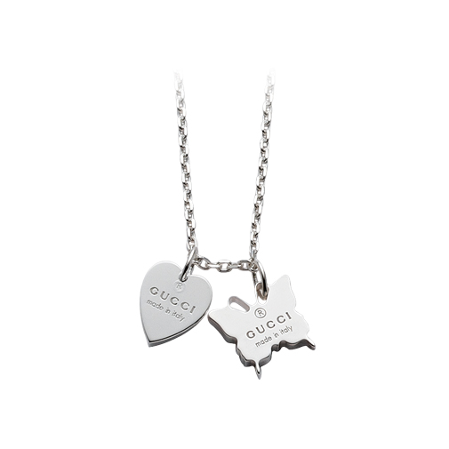 Trademark Silver Necklace Gucci Heart & Butterfly