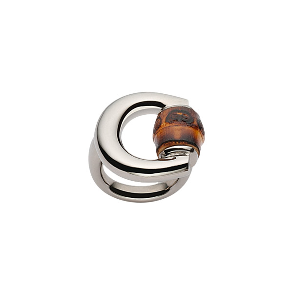 Bamboo Horsebit Ring in silver and bamboo
