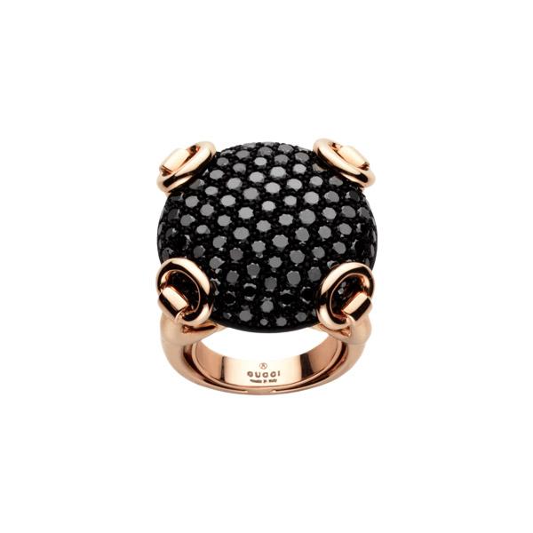 Horsebit Cocktail Ring Pink Gold & black diamonds Gucci Gucci Roya