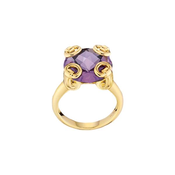 Horsebit Cocktail Ring, Yellow Gold & Amethyst