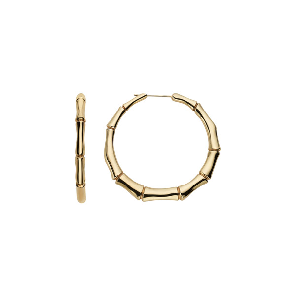 Bamboo Hoops, Yellow Gold, 55 mm
