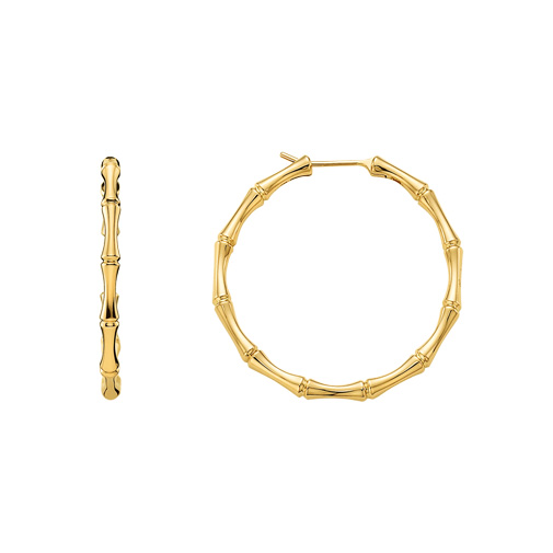 Bamboo Hoops, Yellow Gold