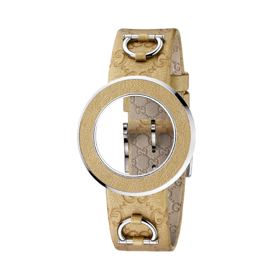 Kit U-Play M Gold bezel & gold leather strap