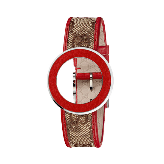 Kit U-Play M Red bezel, Beige fabric, red strap