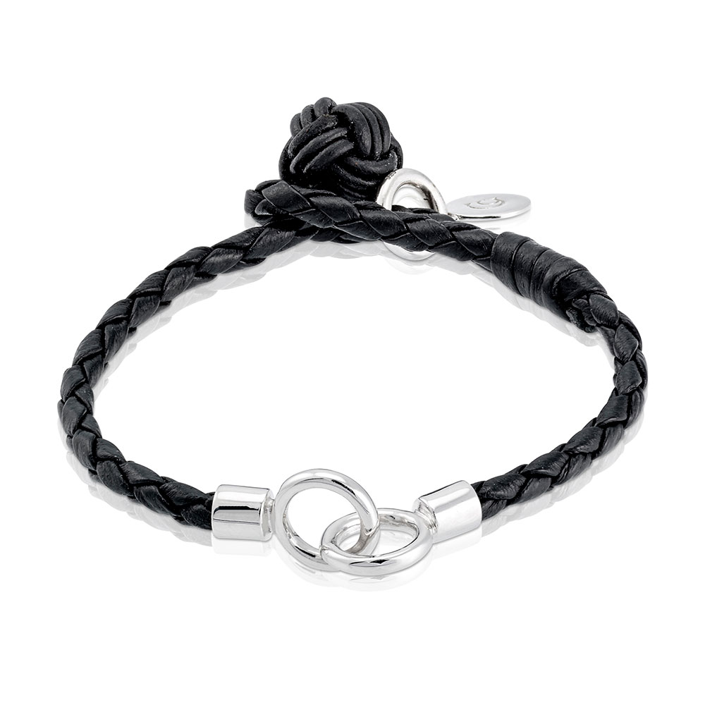 The Knot Bracelet 18,5 cm, Sterling Silver/Leather
