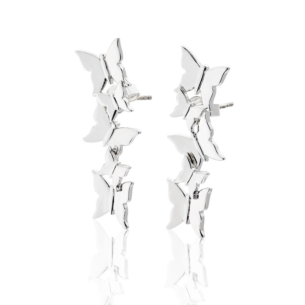 Butterfly Love Earrings, Sterling Silver