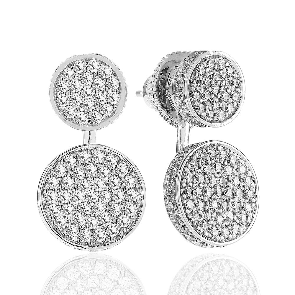Portici Due Earrings, Silver/ White Zirconia