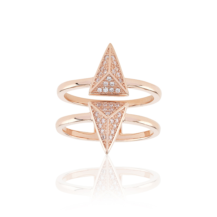 Pecetto Ring 50 Zirconia, Rosegold