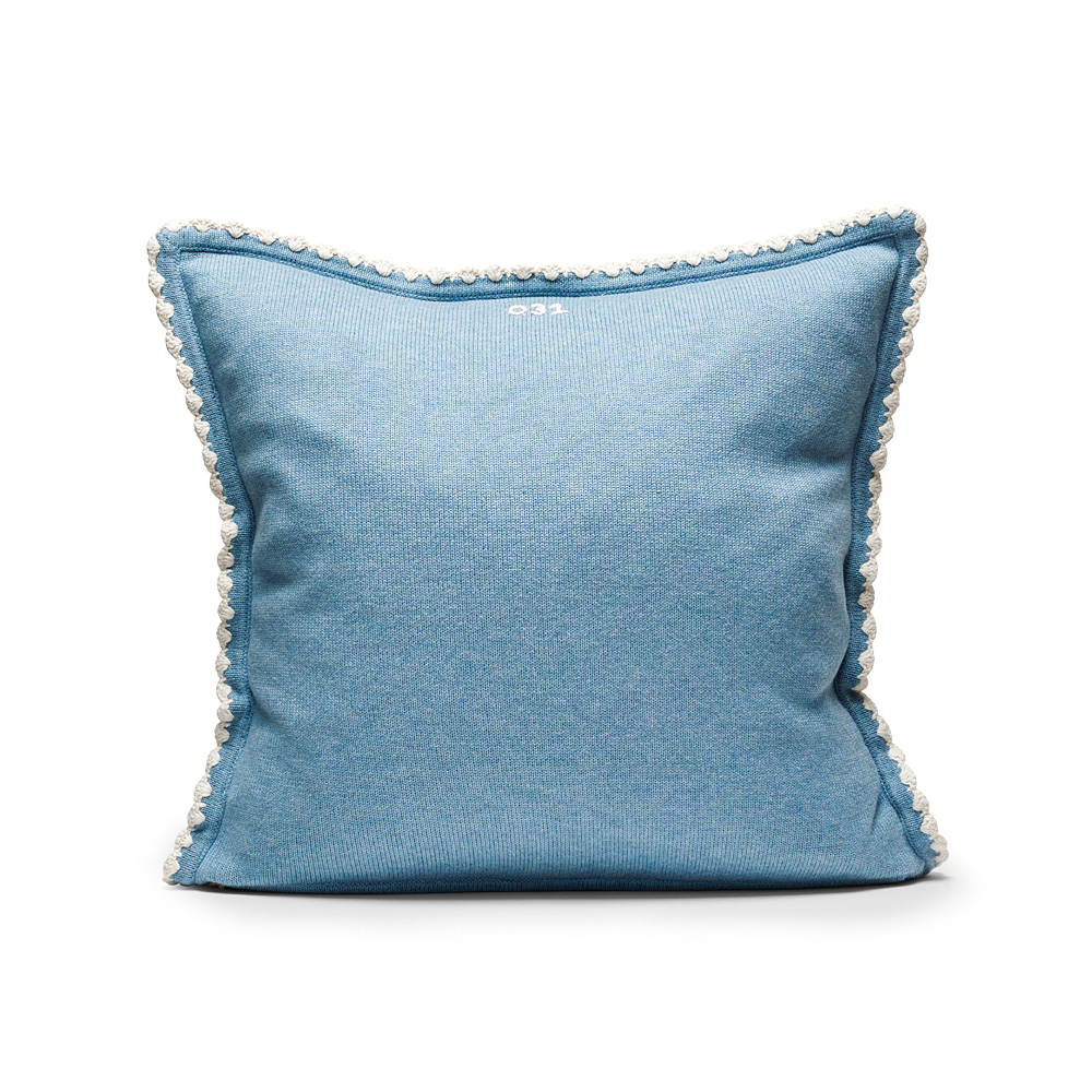 Lovely Knit Cushion Cover 50x50cm, Mid Blue