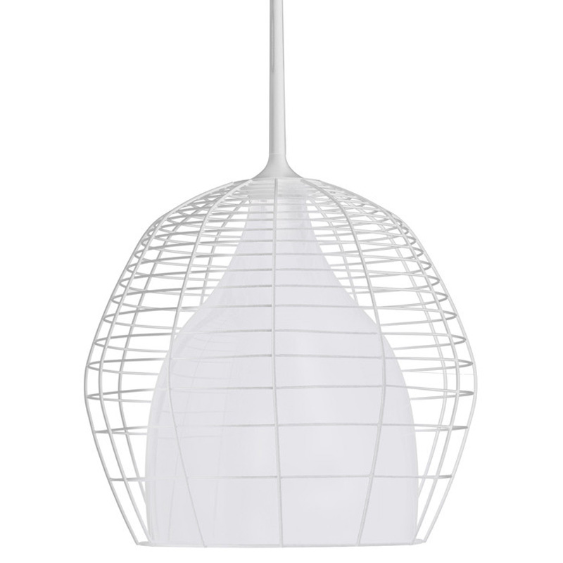 Cage Suspension Lamp 69 cm, White/White