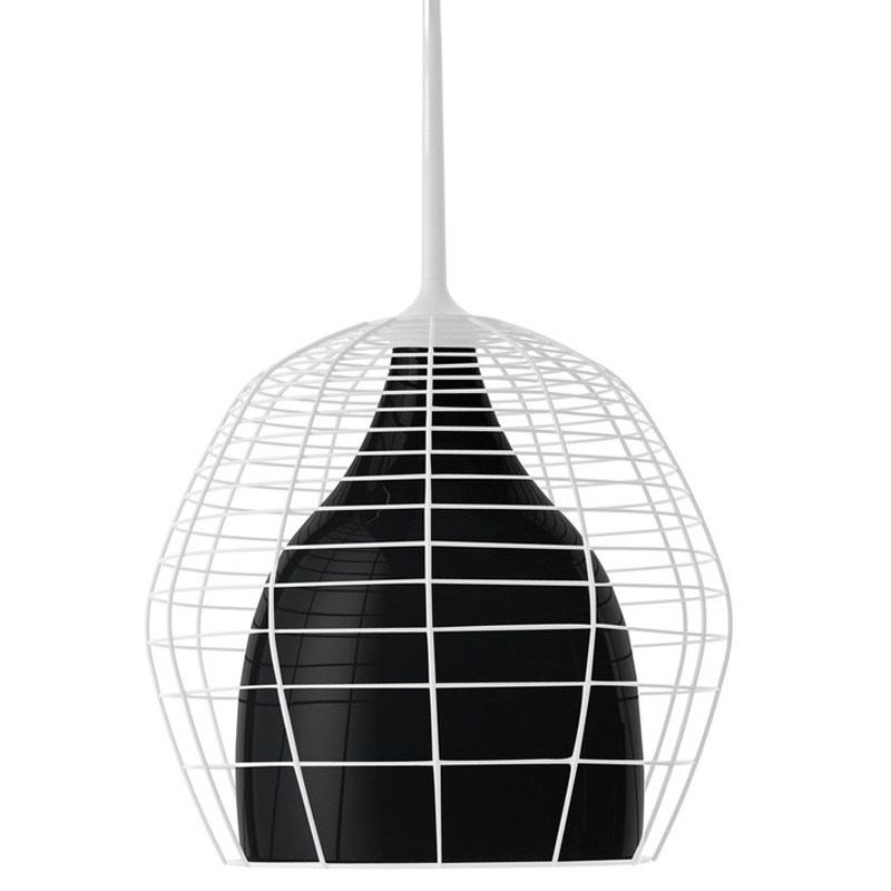 Cage Suspension Lamp 69 cm, White/Black