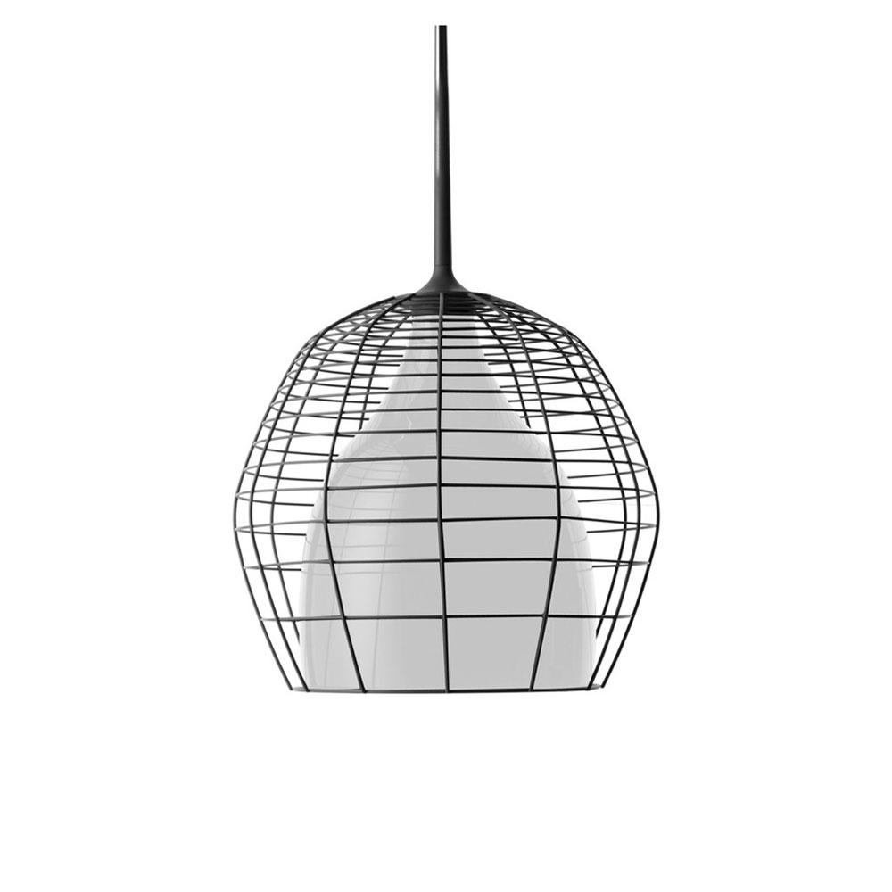 Cage Suspension Lamp 69 cm, Black/White