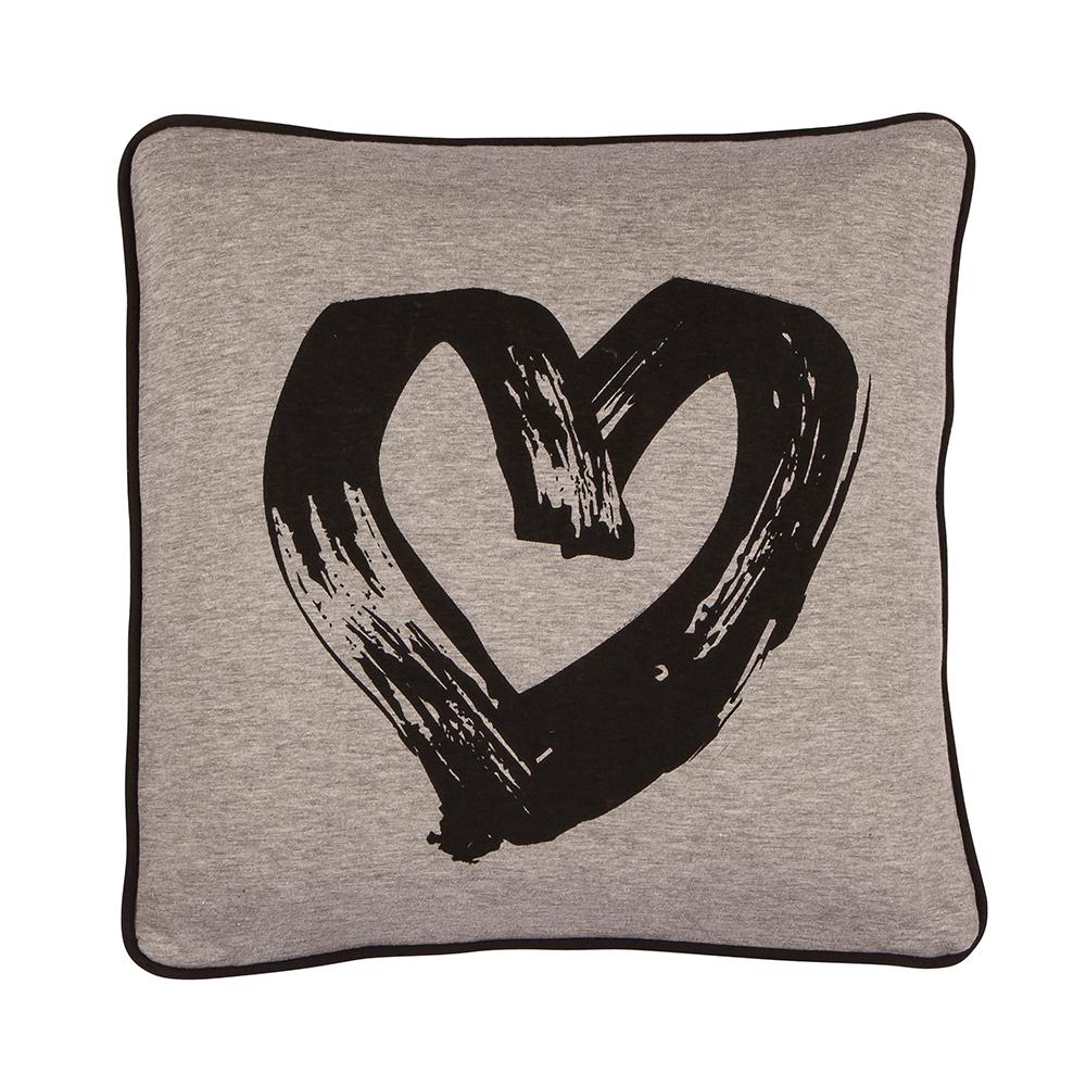Heart Cushion Cover, Black