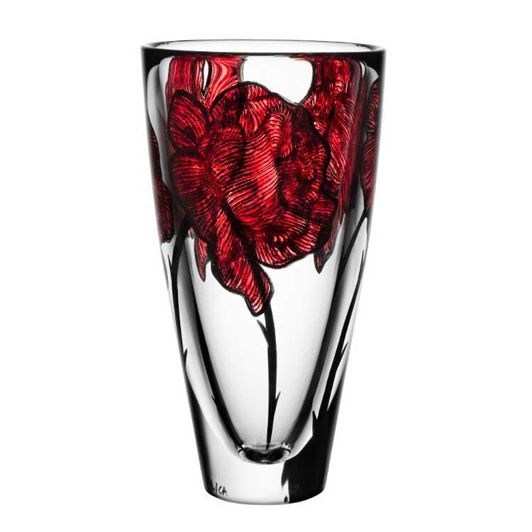 娇艳红花刺花花瓶