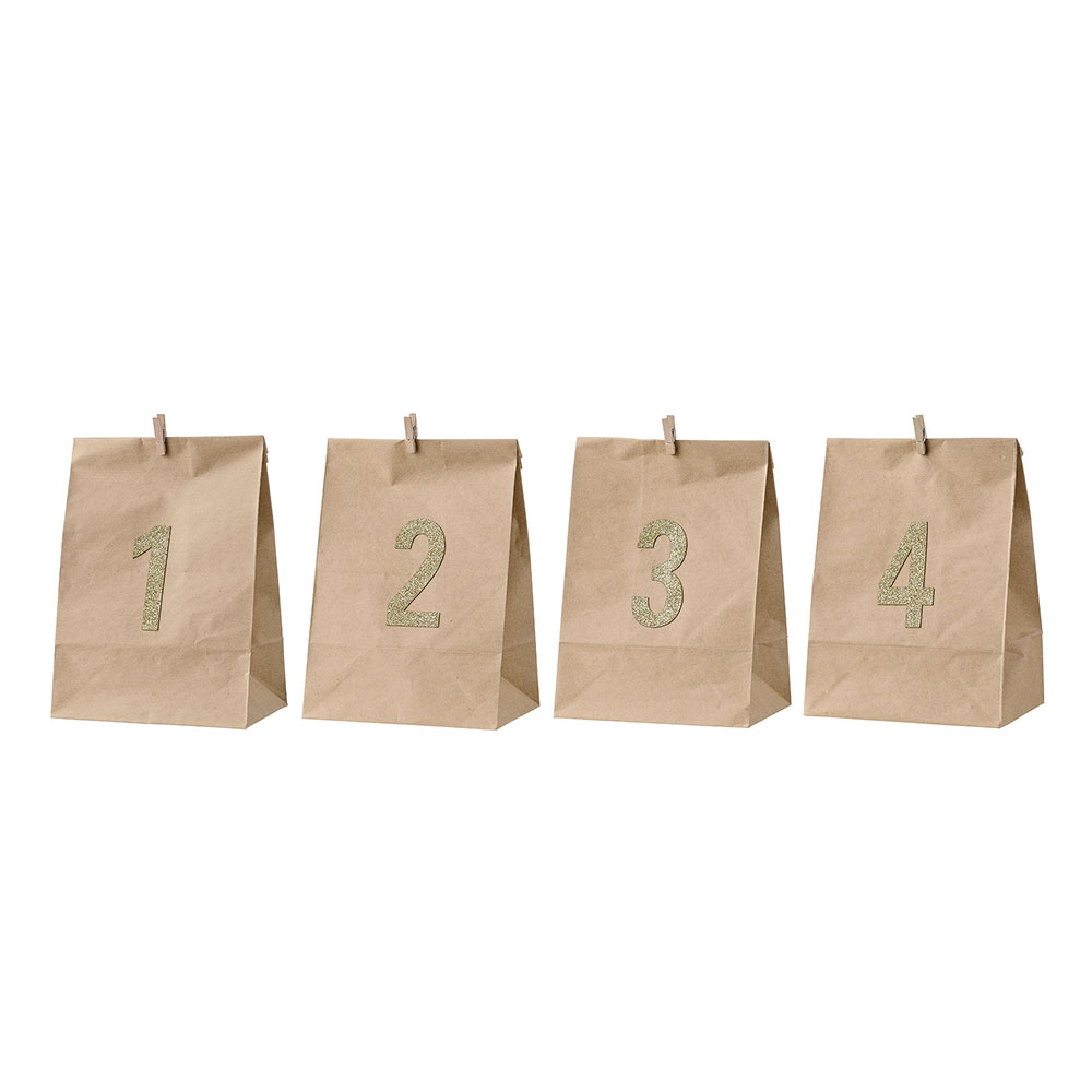 Advent Paperbag 4pcs, Nature