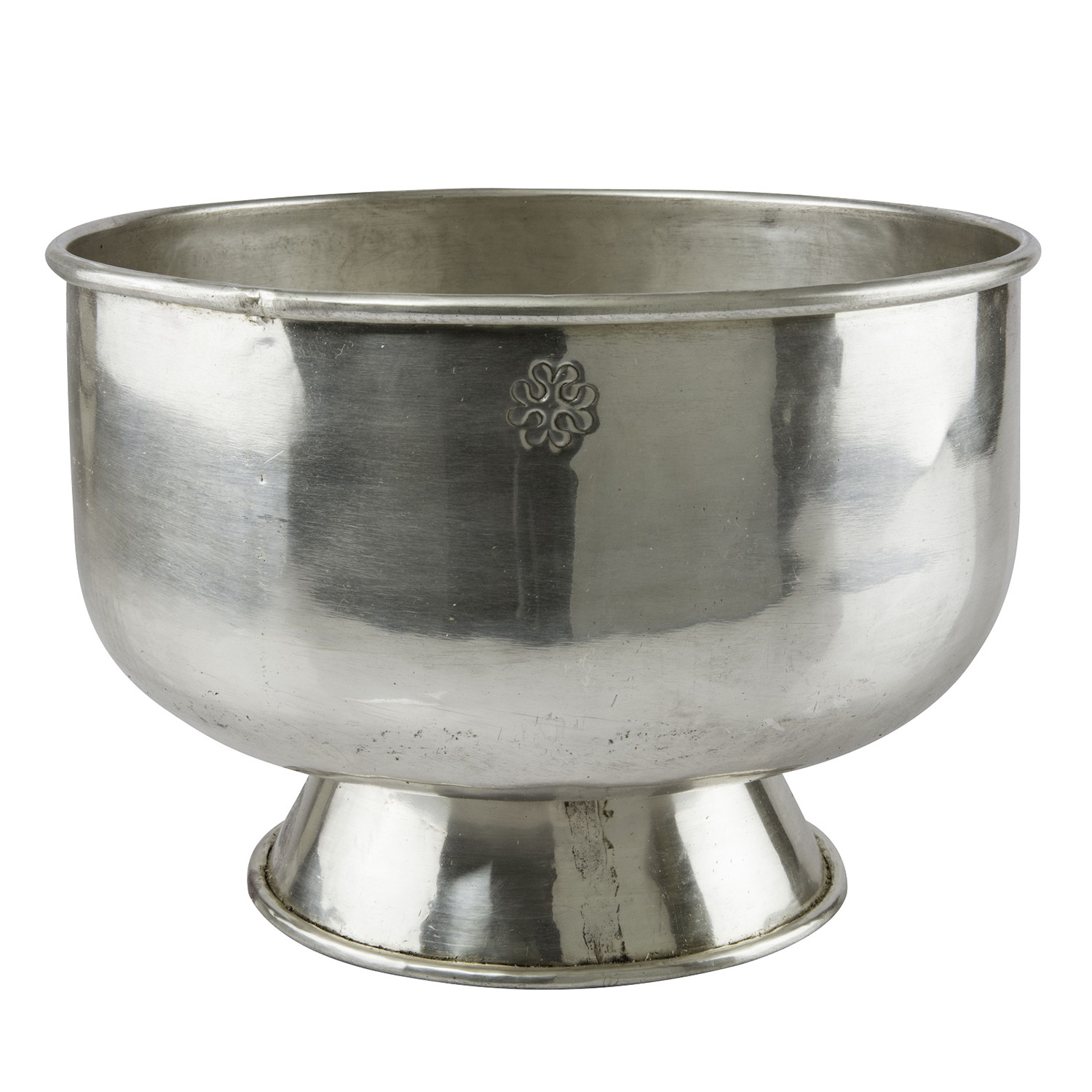 Brass Bowl With Base Carved Silver