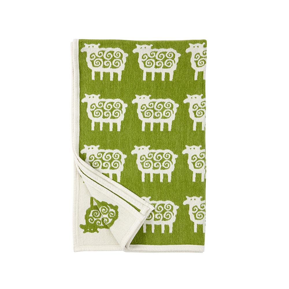 Sheep Chenille Blanket, Green/white