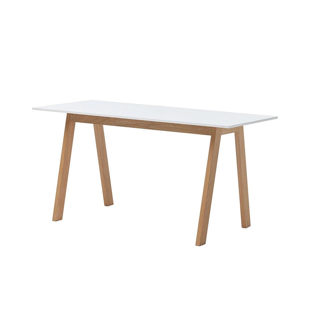 Angle Desk, White/ Oiled Oak