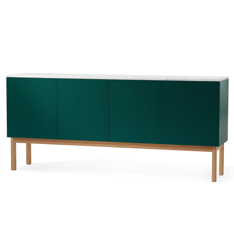 Beam Cabinet, Green/White Oiled Oak/Marble