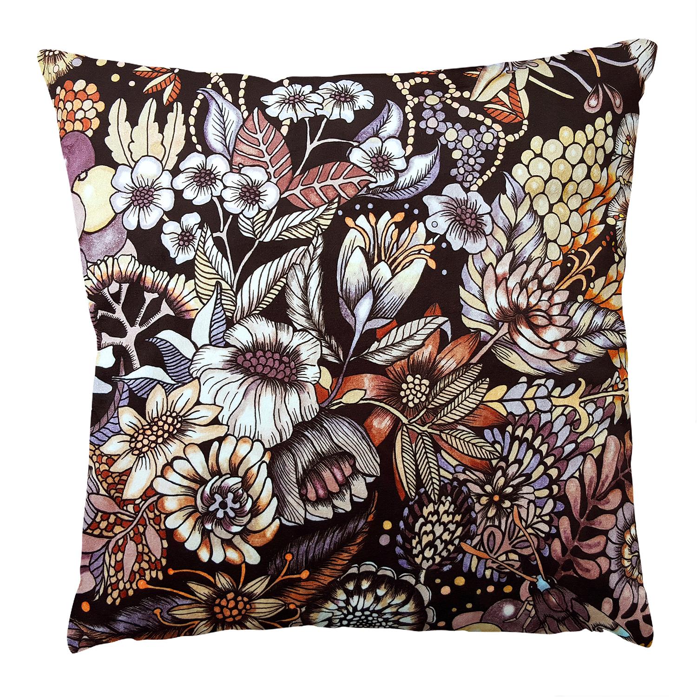 Flores Cushion Cover Velvet 48x48cm, Brown