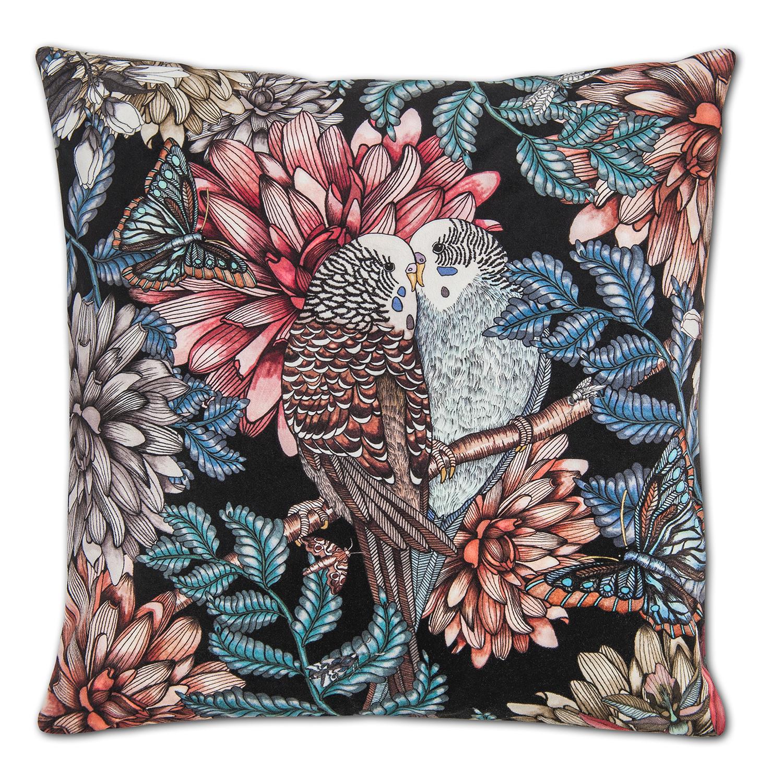 Lovebirds Cushion Cover Velvet 48x48cm, Black