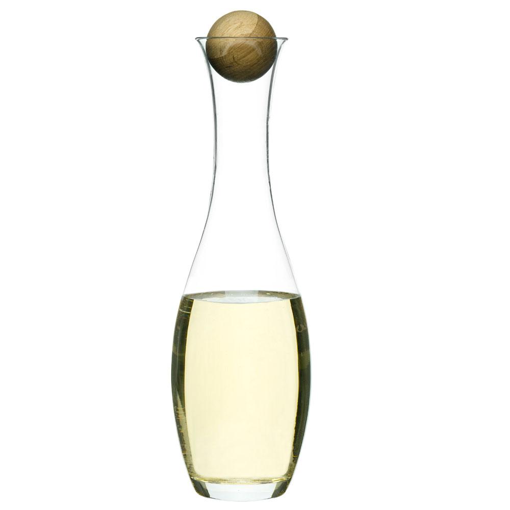oval oak wine water carafe with oak stopper sagaform. Black Bedroom Furniture Sets. Home Design Ideas