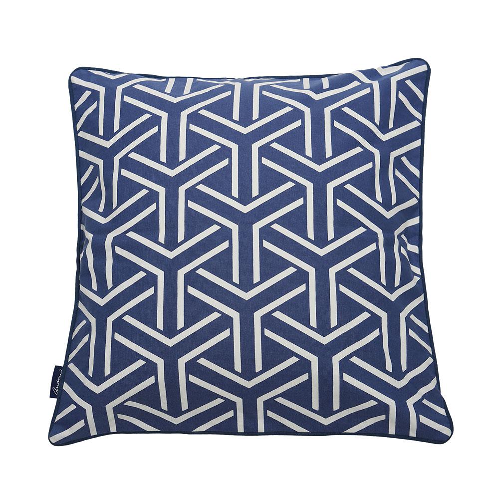 Cushion Cover Y-Pattern 50x50cm, Blue