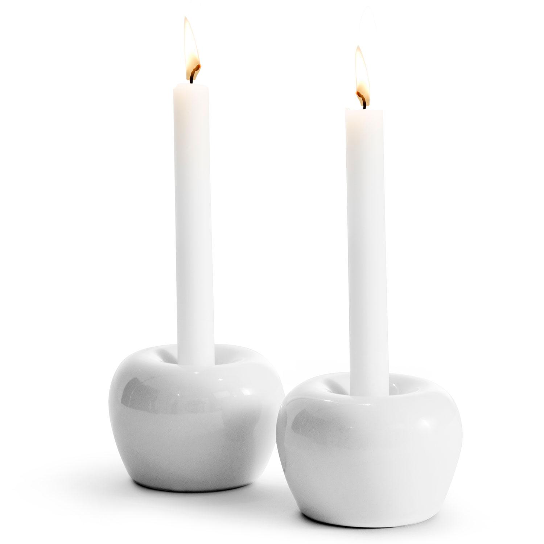 Apple Tea light bowl S 2 pcs, White