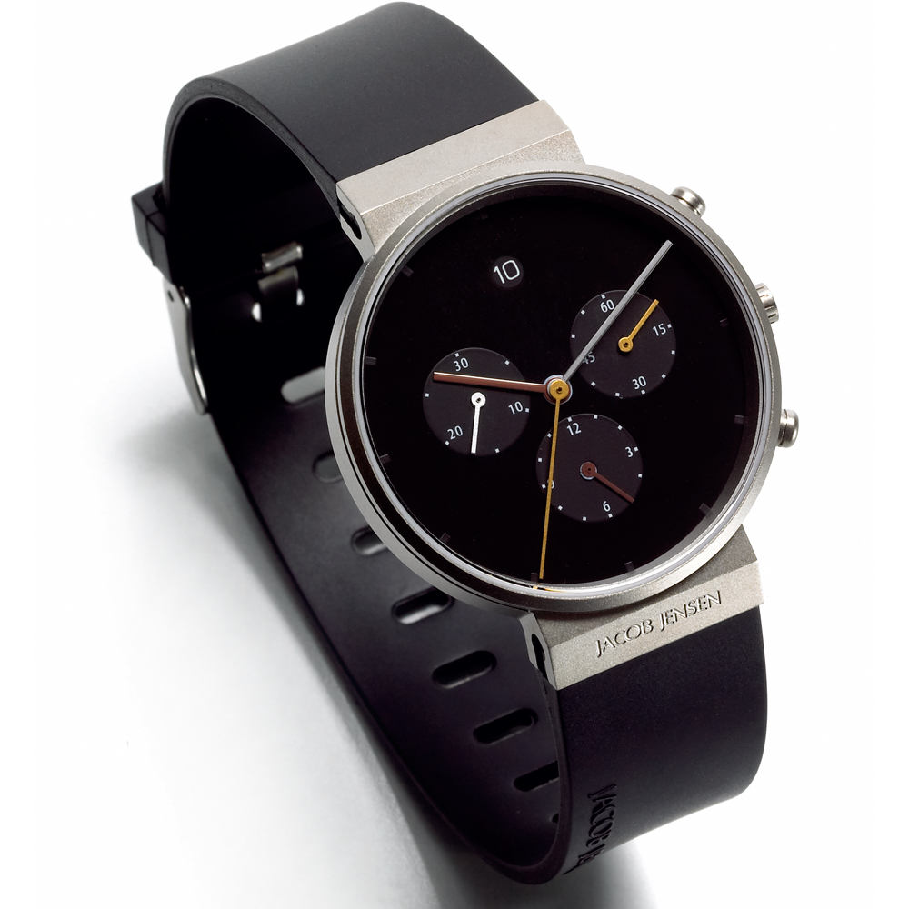 chronograph watch black black wristband jacob jensen. Black Bedroom Furniture Sets. Home Design Ideas