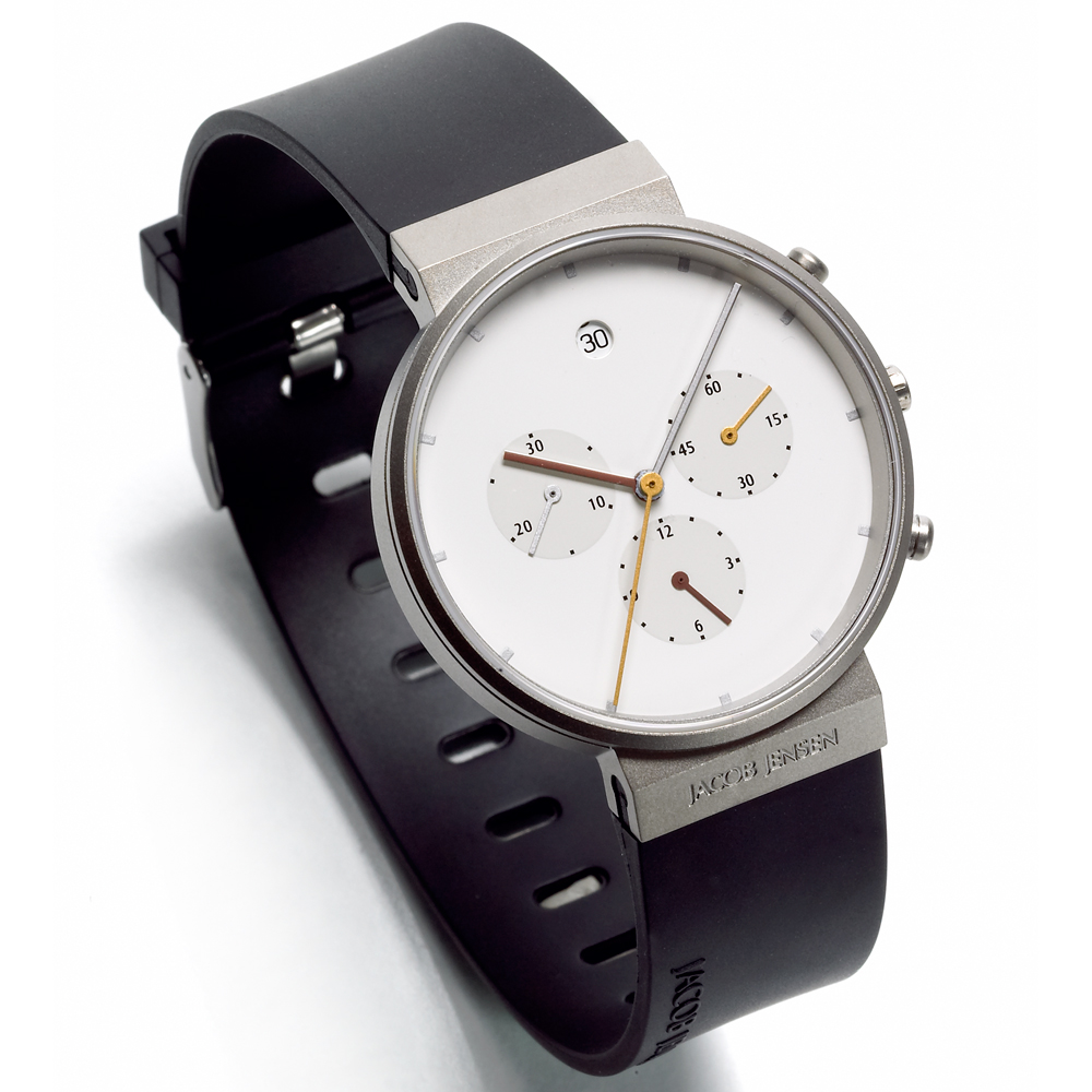 chronograph watch white black wristband jacob jensen jacob jensen. Black Bedroom Furniture Sets. Home Design Ideas
