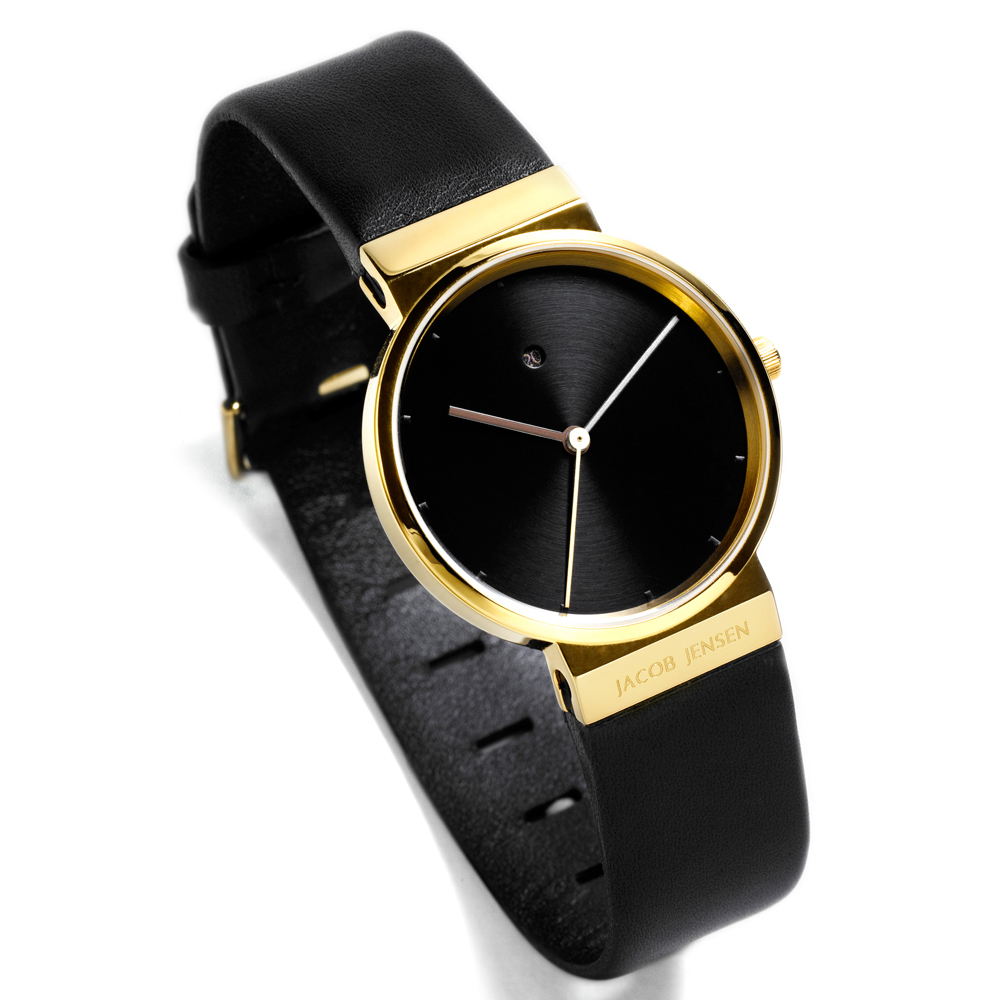 Black Gold Leather Watch for Woman