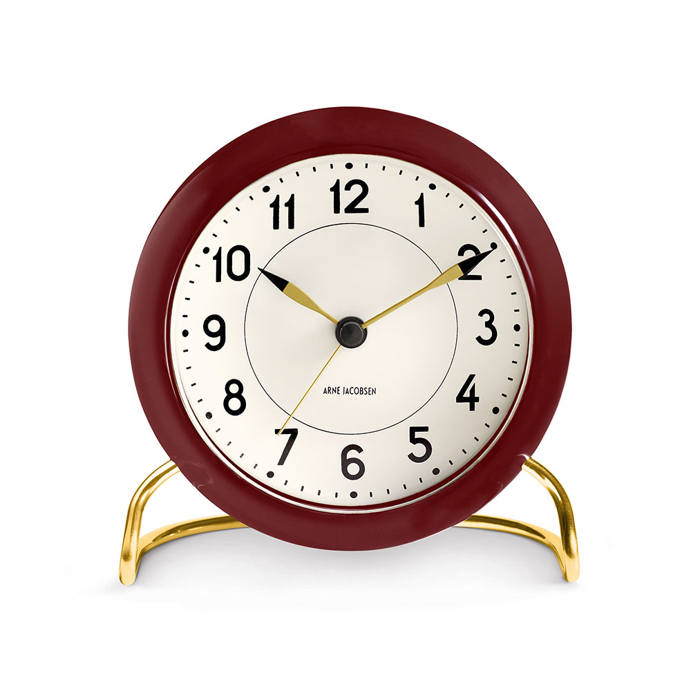 AJ Station Table Clock burgundy/white w. alarm