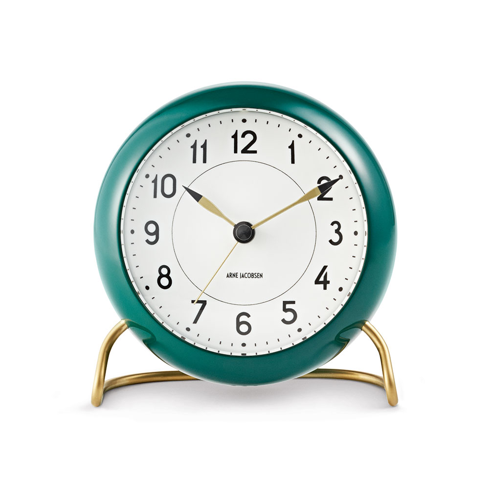 AJ Station Table Clock With Alarm, Green/White