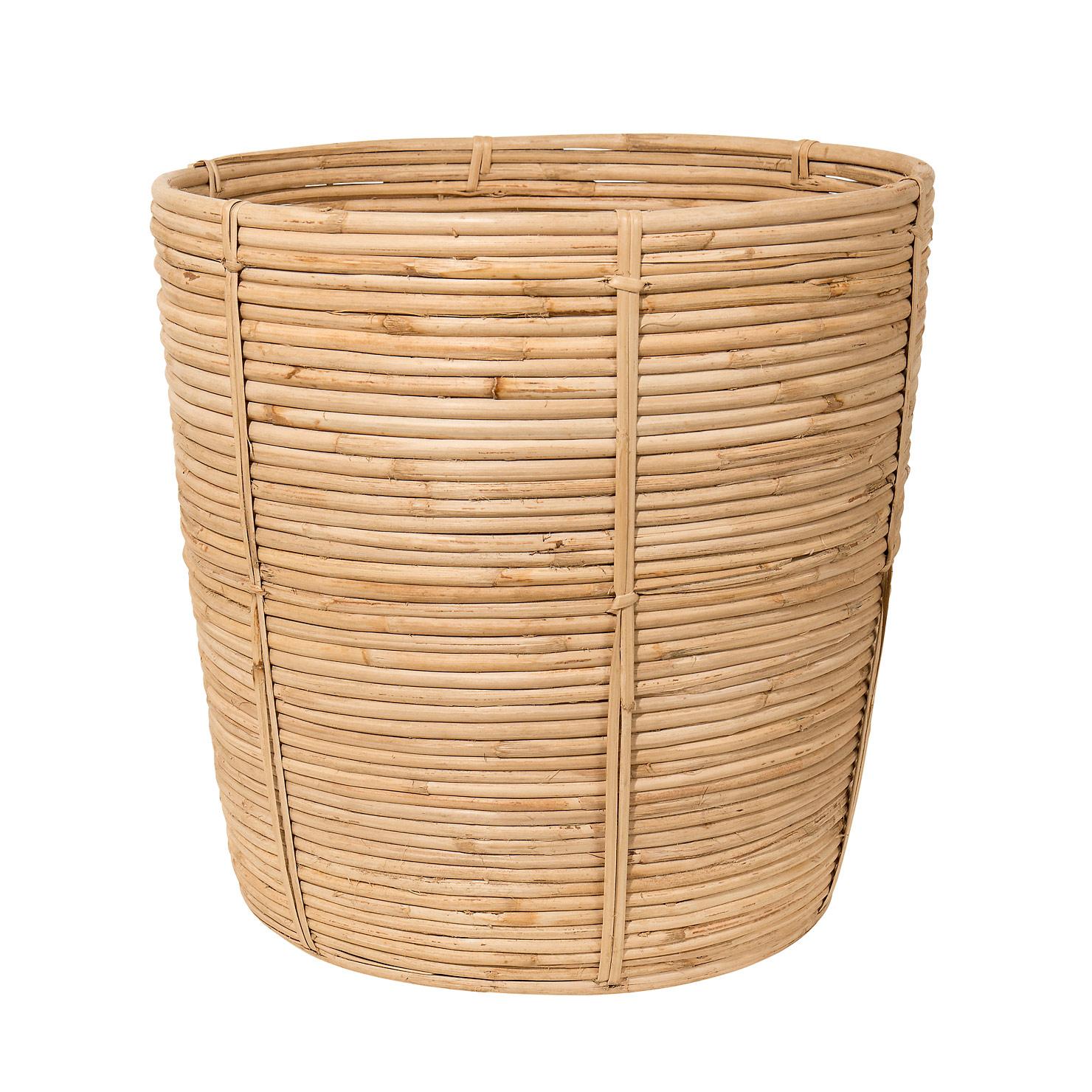 Cane Wastebasket 36x37cm, Rattan