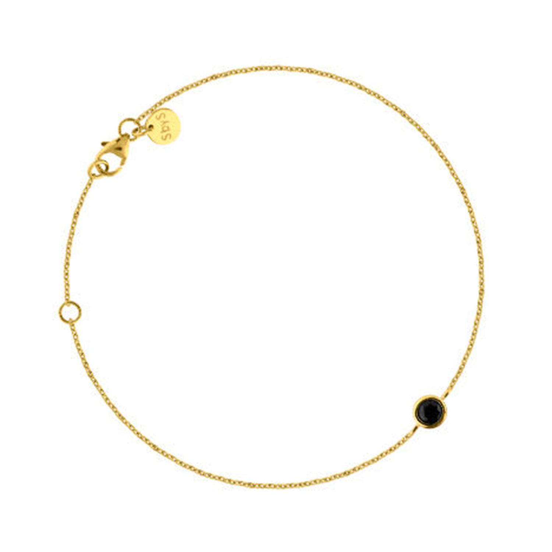 Mini Stone Bracelet, Gold/Onyx