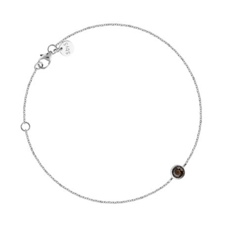 Mini Stone Bracelet, Silver/Smokey Quartz