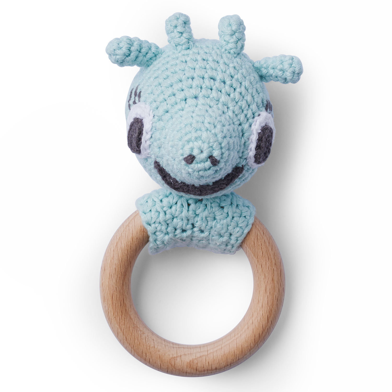 Giraffe Crochet Rattle, Aqua